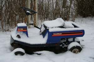 Rasenmäher im Winter